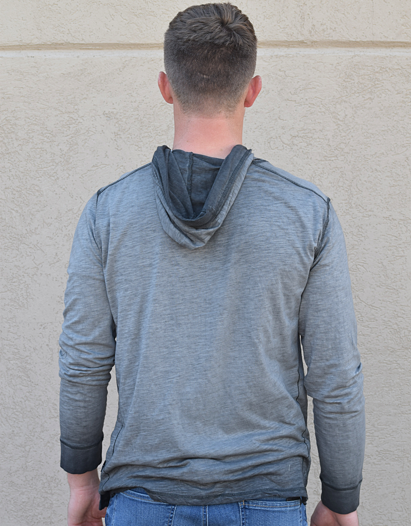 Washed Lightweight Hooded Henley