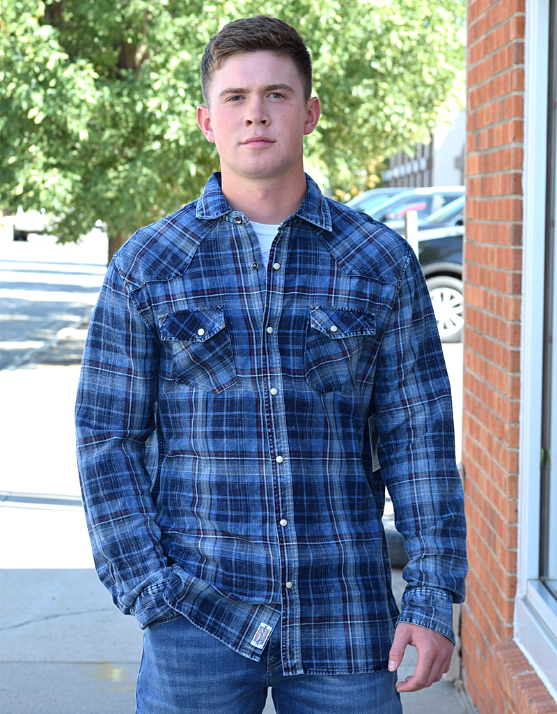 Plaid Snap Up Long Sleeve