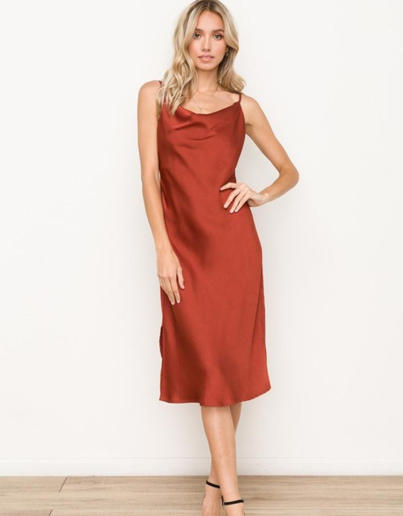 Satin Cowl Neck Slip Dress Midi Length