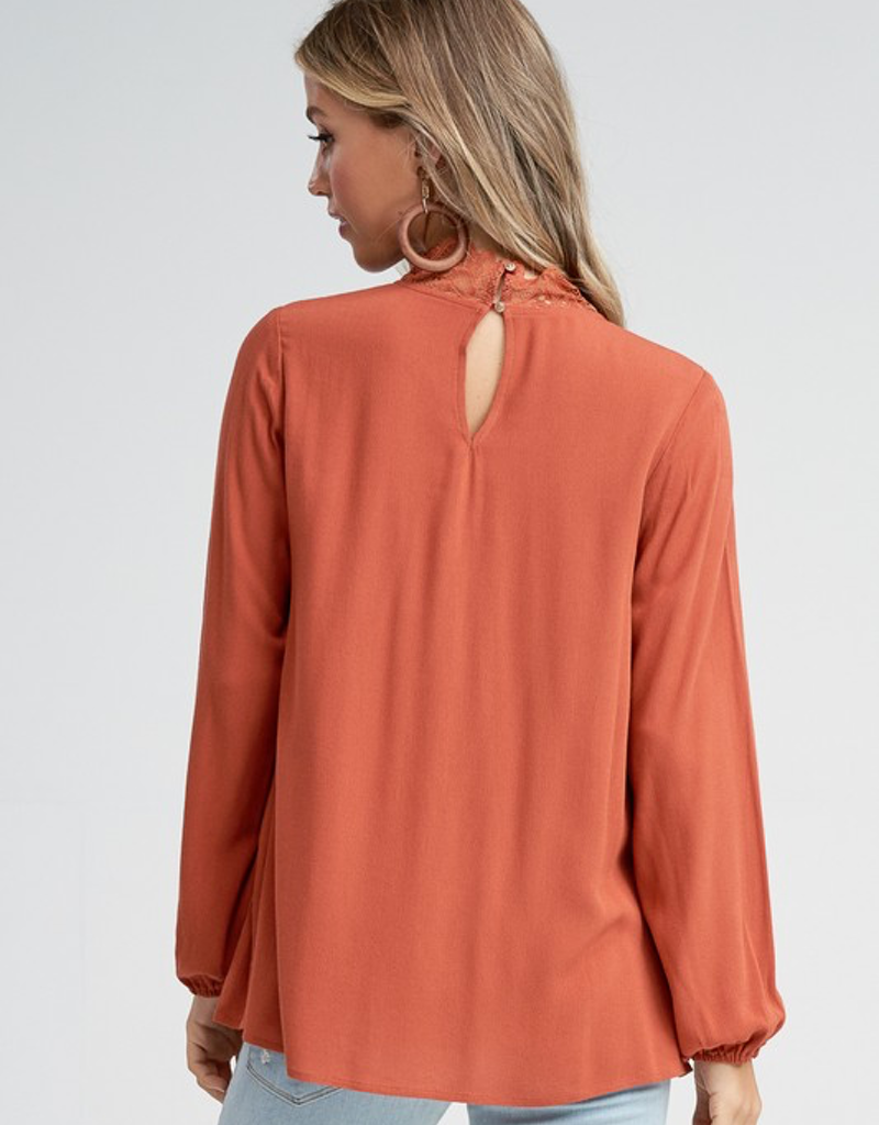 Lace Detail Long Sleeve Solid Knit Top