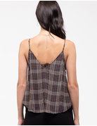 Checkered Print Lace Lined Cami
