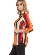 Striped Knit Chiffon Top