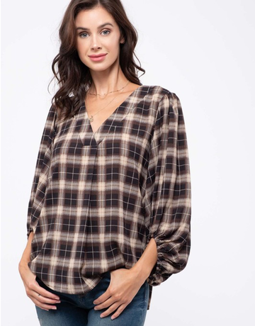 Plaid V-Neck Shirt