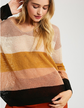 V-Neck Color Block Open Knit Sweater