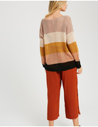 V-Neck Color Block Open Knit Sweater