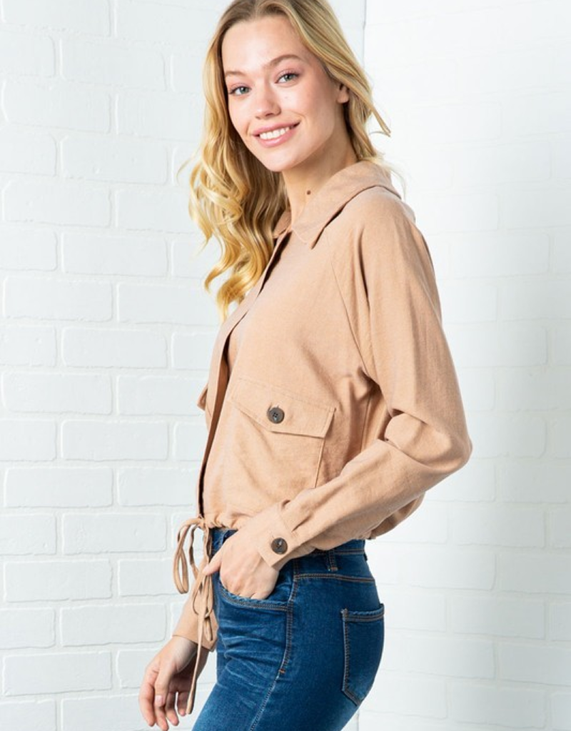 High Collared Button Down Jacket