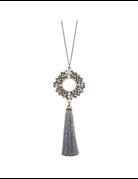Glass Pendant Tassel Necklace