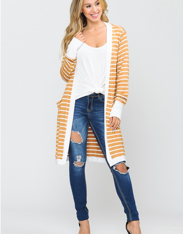 Stripe Midi Open Cardigan