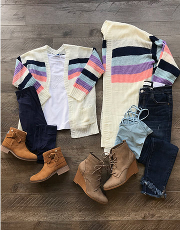 Stripe Pocket Cardigan Sweater
