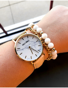 Gold Marble Tan Leather Watch