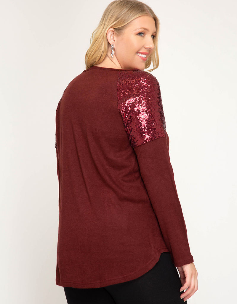 Long Sleeve With Sequin Shoulders