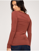 Long Sleeve Basic V-Neck Top
