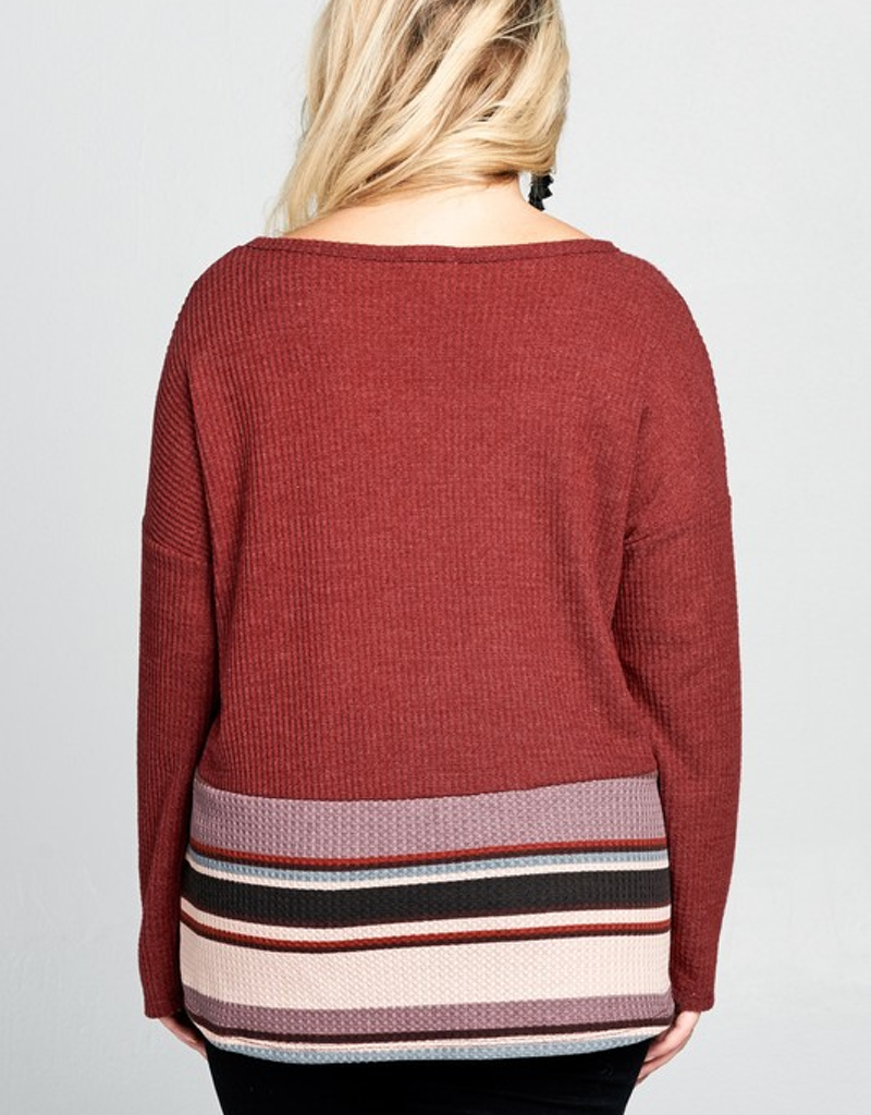 Multi-Colored Striped Waffle Knit Top