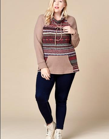 Tribal Printed Detailed Raglan Sweater