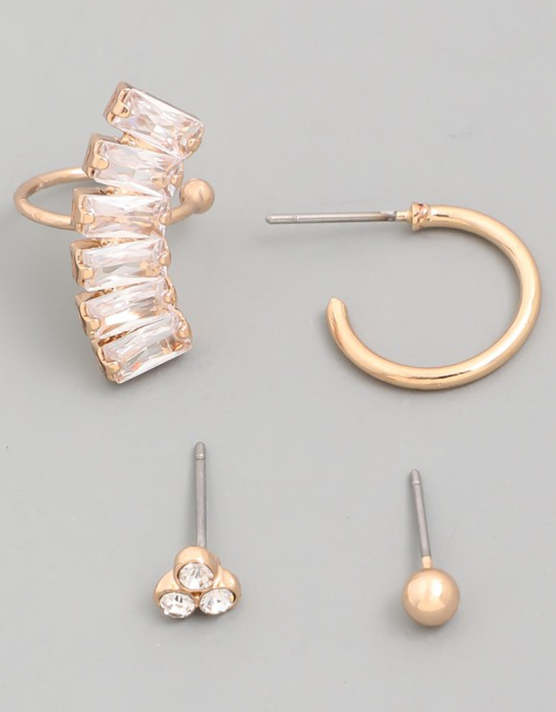 Assorted Baguette Earrings Set