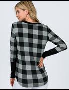 Plaid Pocket Long Sleeve Top