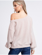 Puff Sleeve Knit Boat Neck Top