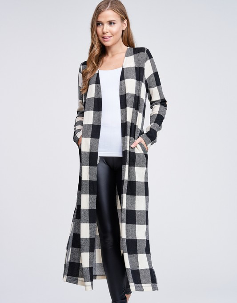Plaid Knit Cardigan With Side Pockets