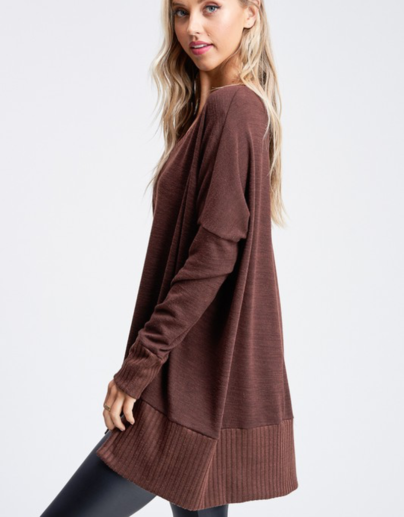 Solid Long Sleeve V-Neck Knit Top