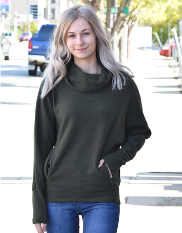 Solid Knit Cowl Neck Top