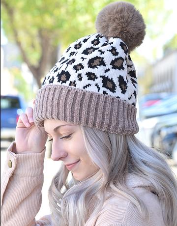 Crochet Knit Leopard Beanie