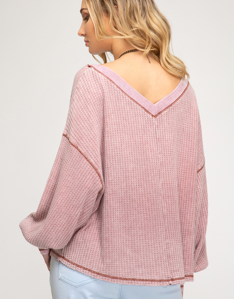 Bubble Sleeve Waffle Knit Top