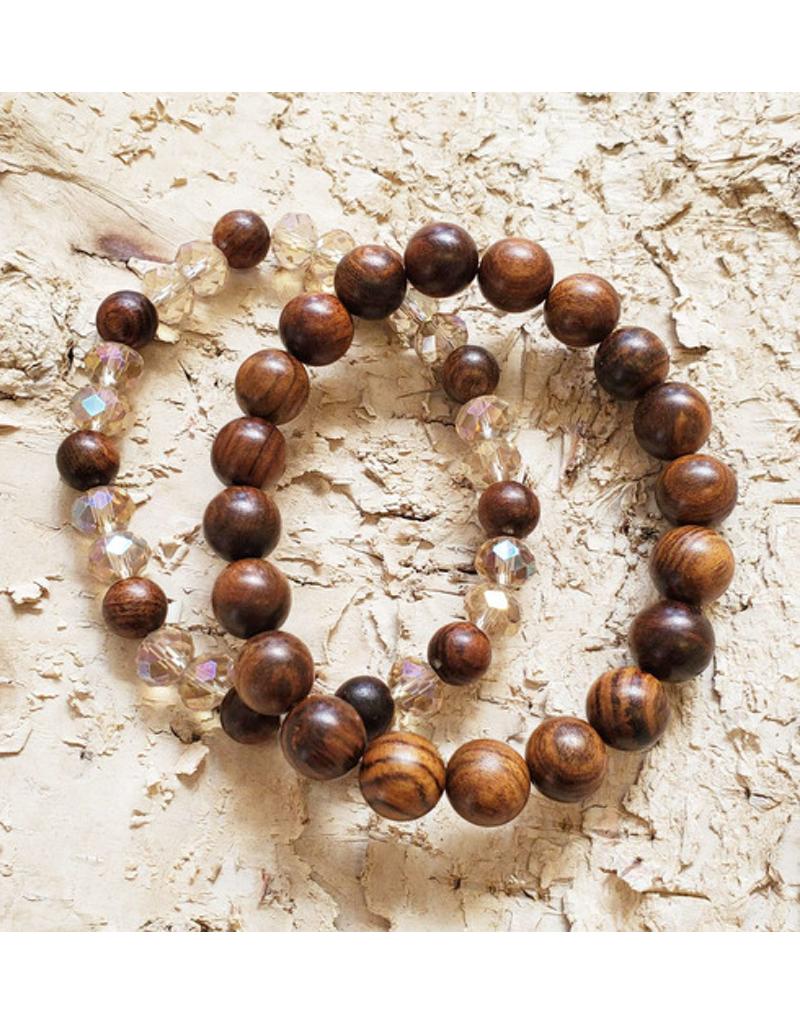 Wood & Crystal Bracelet Set