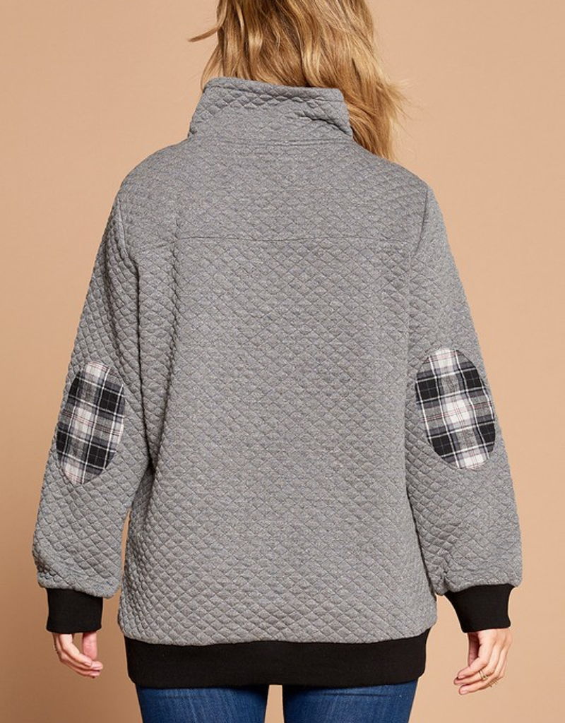 Quilted Pop Collar Solid Pullover