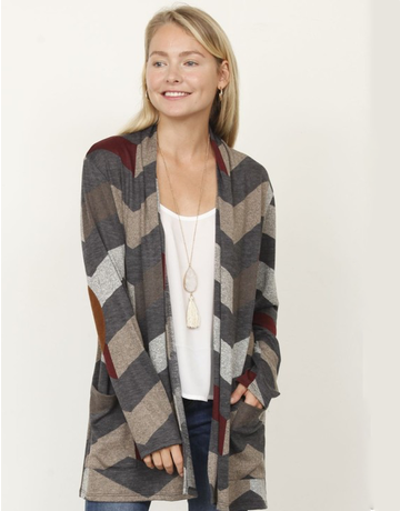 Chevron Ebow Patch Open Cardigan