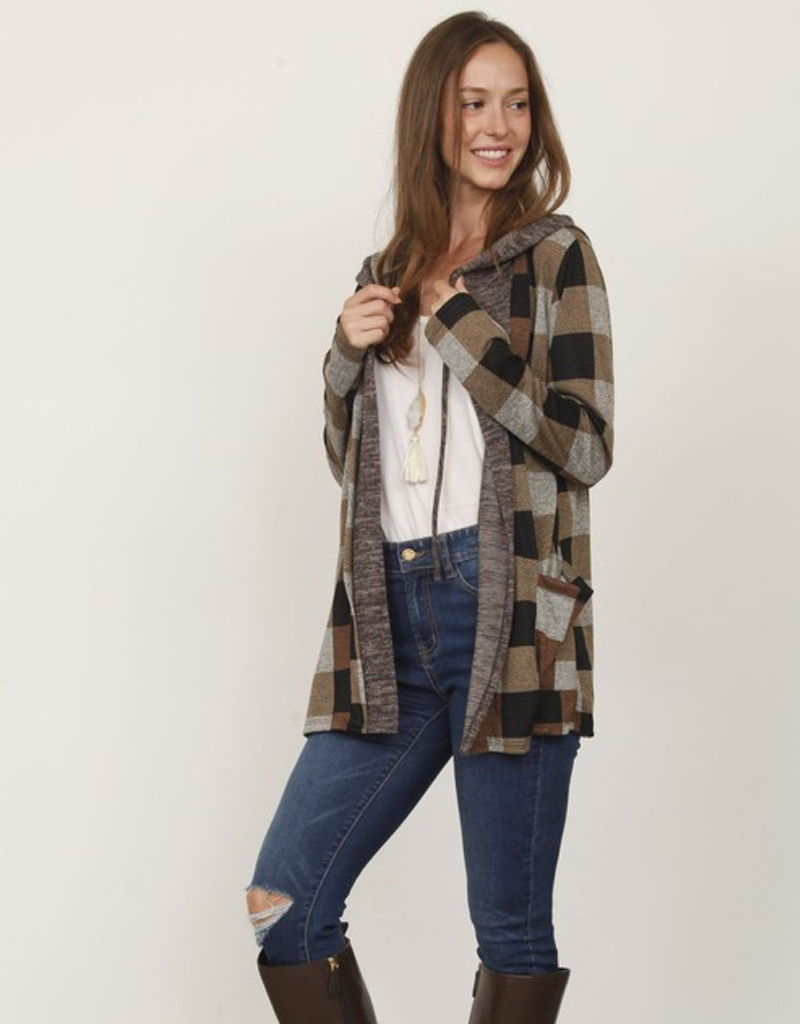 Checkered Hooded Cardigan