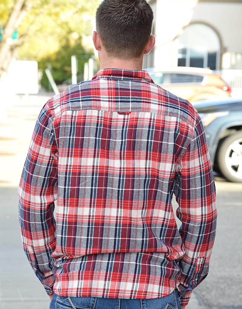 Plaid Cuff Long Sleeve Top