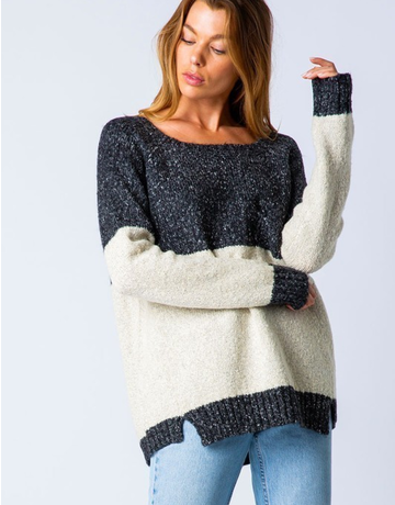 Knit Color Block Raglan Sweater