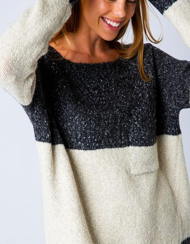 Knit Color Block Raglan Sweater