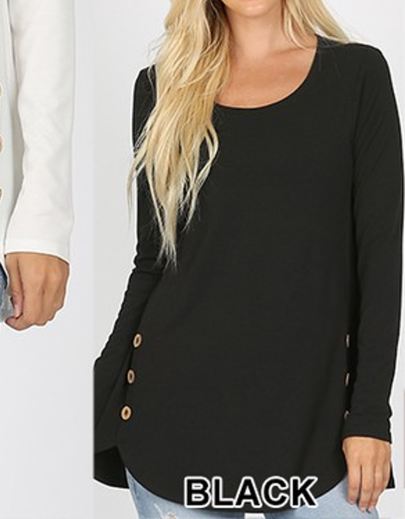 Curvy Long Sleeve Side Button Top