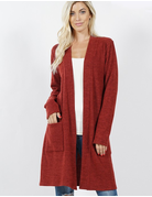 Brushed Open Front Cardigan