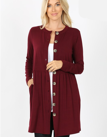 Curvy Buttoned Cardigan With Side Pocket