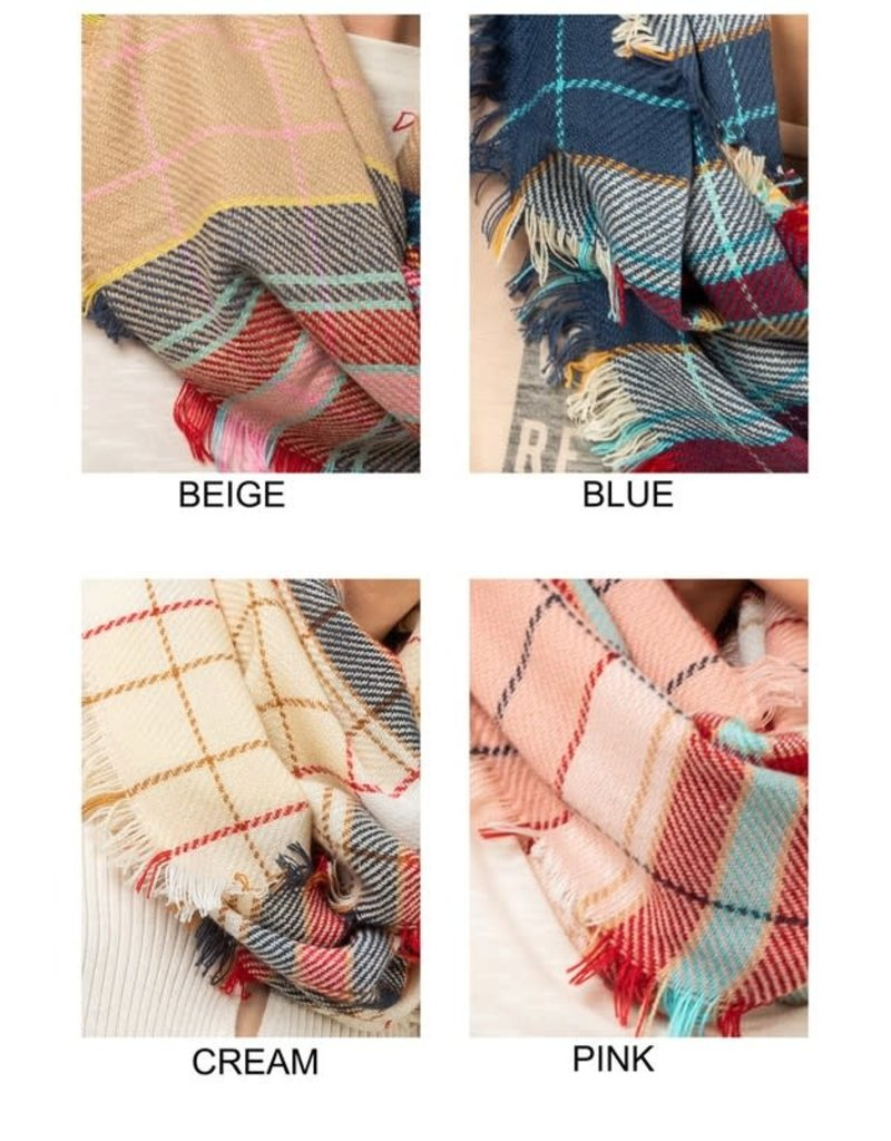 Soft Plaid Infinity Scarf - 3 Colors