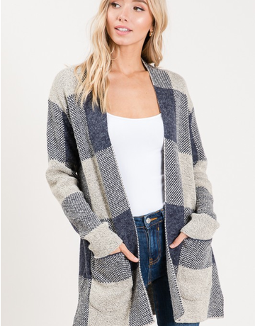 Long Sleeve Plaid Cardigan