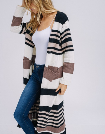 Long Sleeve Multi Stripe Cardigan