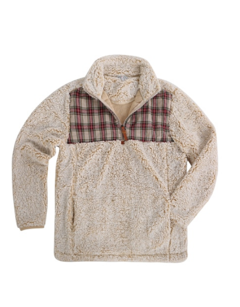 Plaid 1/2 Zip Sherpa Pullover