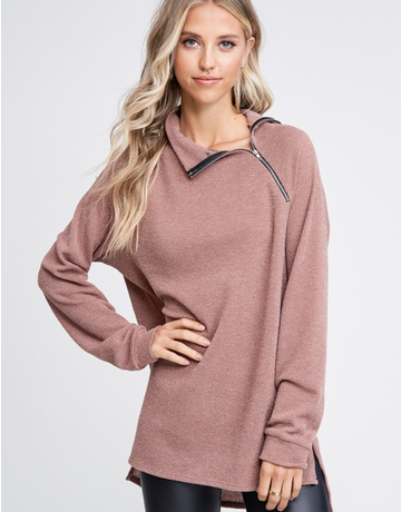 Mock Neck Solid Knit Sweater