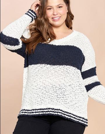 Drop Shoulder Popcorn Knit Sweater