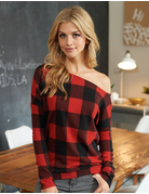 Off The Shoulder Plaid Sweater Top