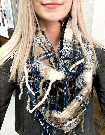 Soft Casual Plaid Infinity Scarf - 4 Colors