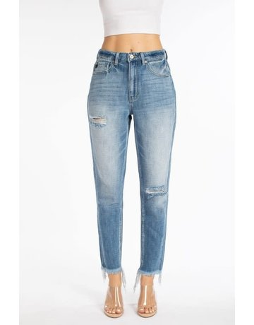High Rise Frayed Ankle Mom Jean