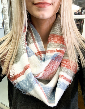 Casual Plaid Infinity Scarf - 3 Colors