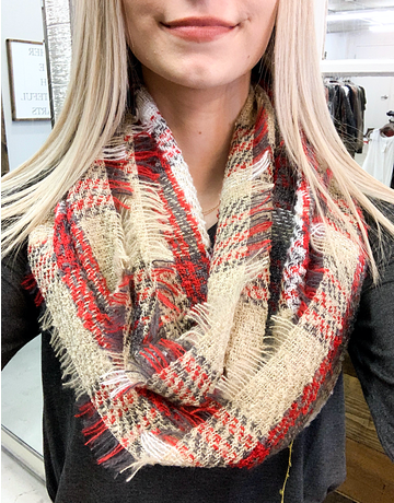 Plaid Infinity Scarf With Fringe - 7 Colors