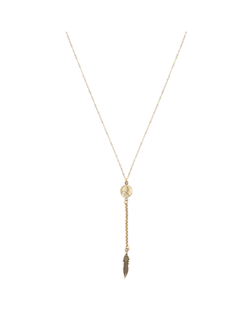 Petite Penny Lariat Necklace W/Feather