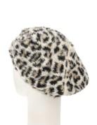 Fuzzy Leopard Print Beret