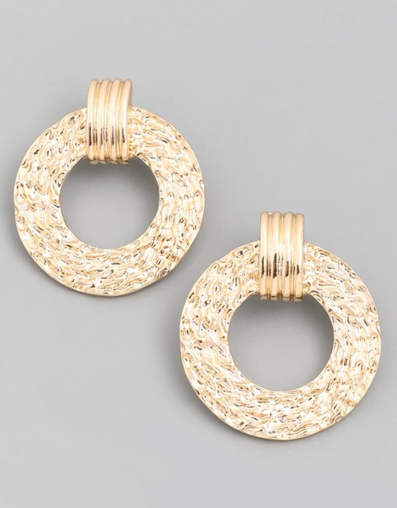 Metallic Textured Circle Earrings